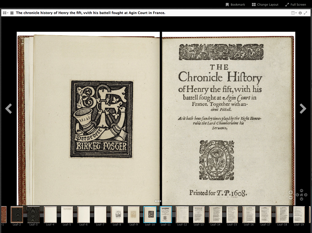 Mirador Example #2    (BookReader object from the Folger Shakespeare Library)