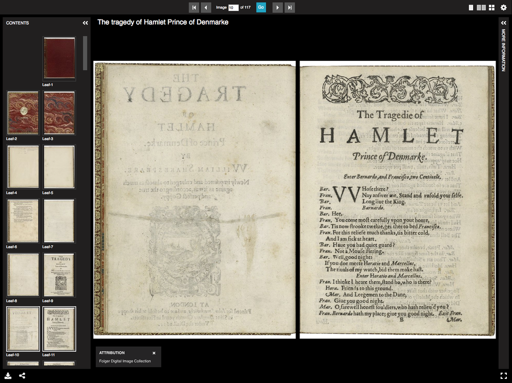 Universal Viewer Example #1   (BookReader object from the Folger Shakespeare Library)