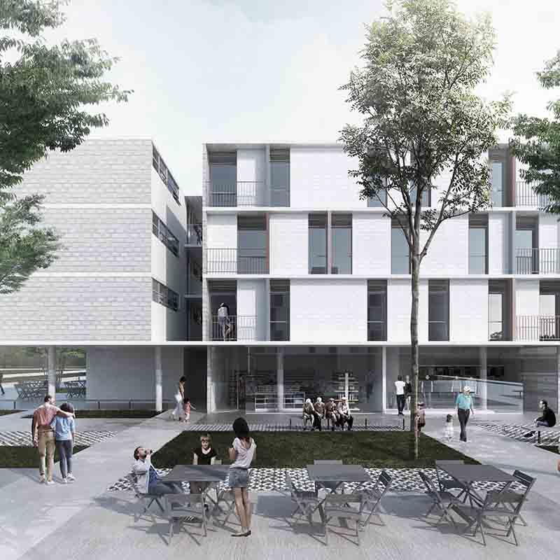 2° lugar - 2016 - concurso nacional de arquitetura para edifícios de uso misto em santa maria - df