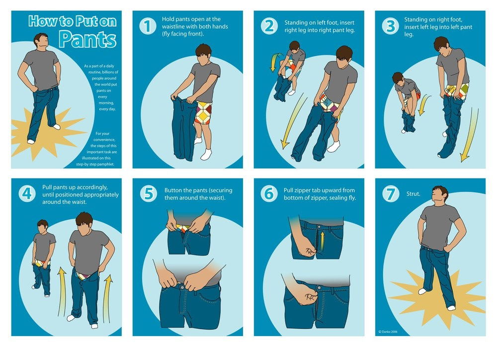 How to put on Pants infographic