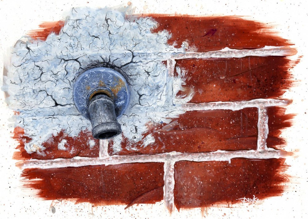 Brick and Fauctet Texture Guache Illustration