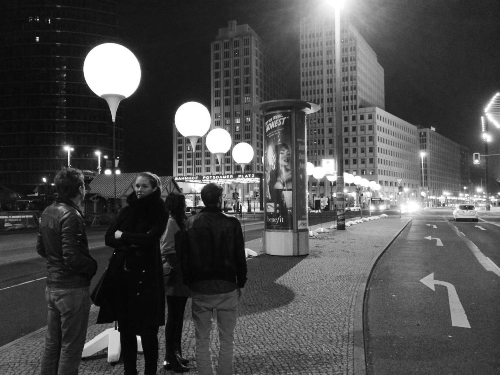 Observing the light installation lining the former path of the Berlin Wall at Potsdamer Platz, during the 25th Anniversary of the Fall of the Berlin Wall.