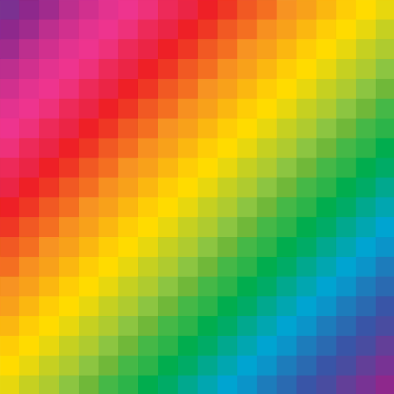 - By combining the 8-bit roots of video game graphics with the playful spectrum of a rainbow, I created this playful, versatile and pixellated visual anchor.