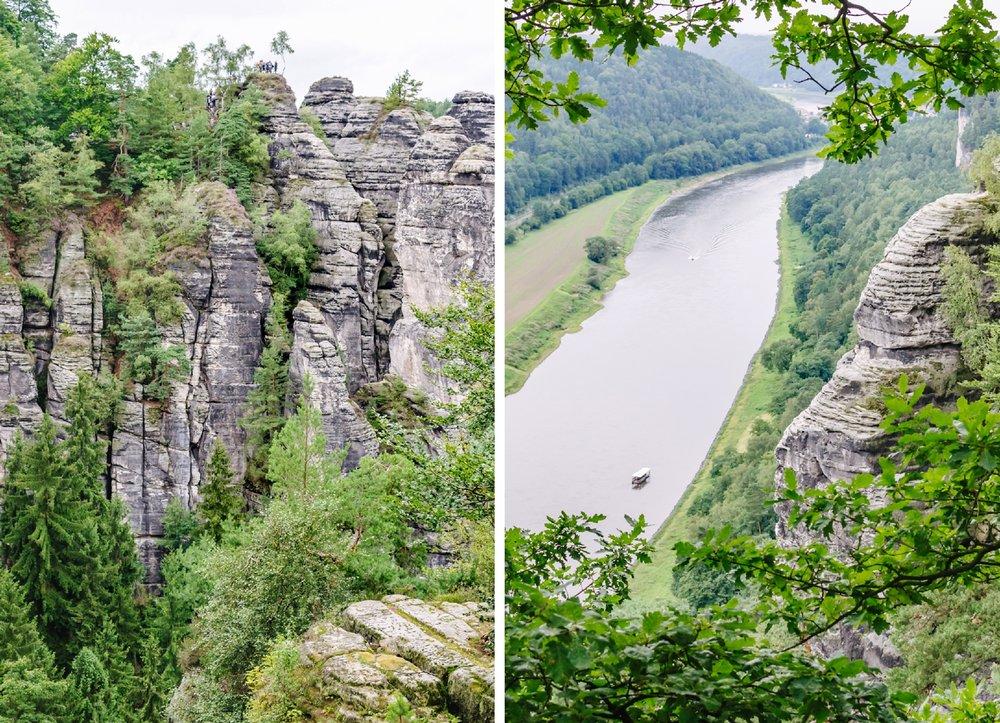 Wehlsteinaussicht (rechts) in der Nähe der Bastei