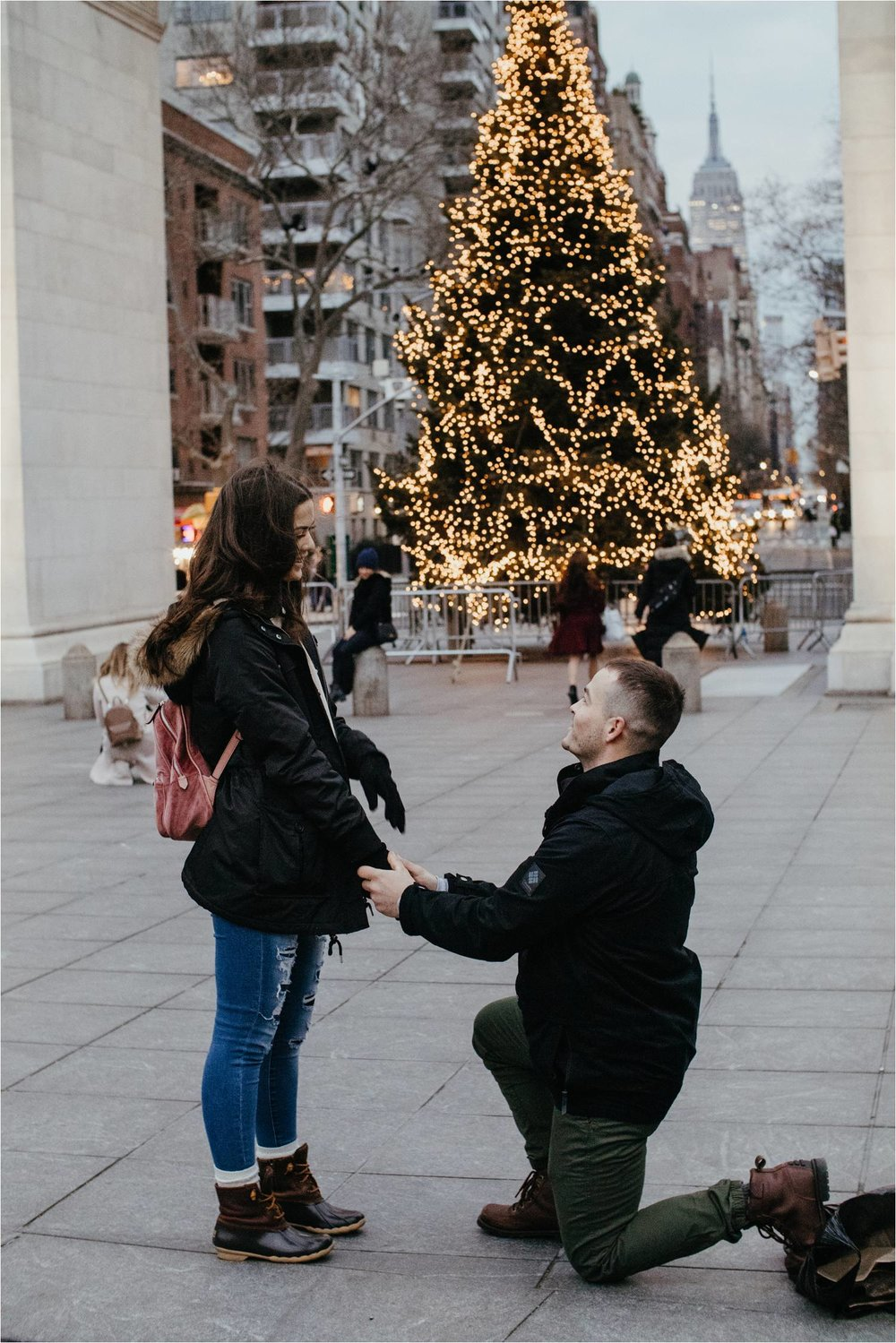nyc proposal - washington square park engagement - washington square park proposal - nyc engagement photos - winter engagement photos nyc