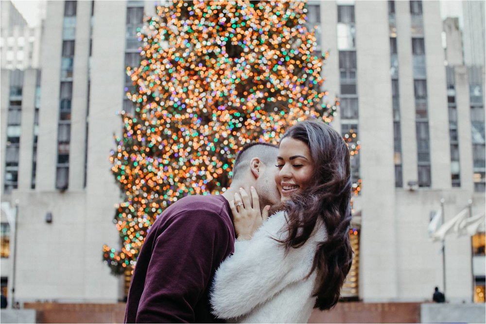 winter engagement photos nyc - rockerfeller center engagement photos - top of the rock nyc engagement photos - new york engagement