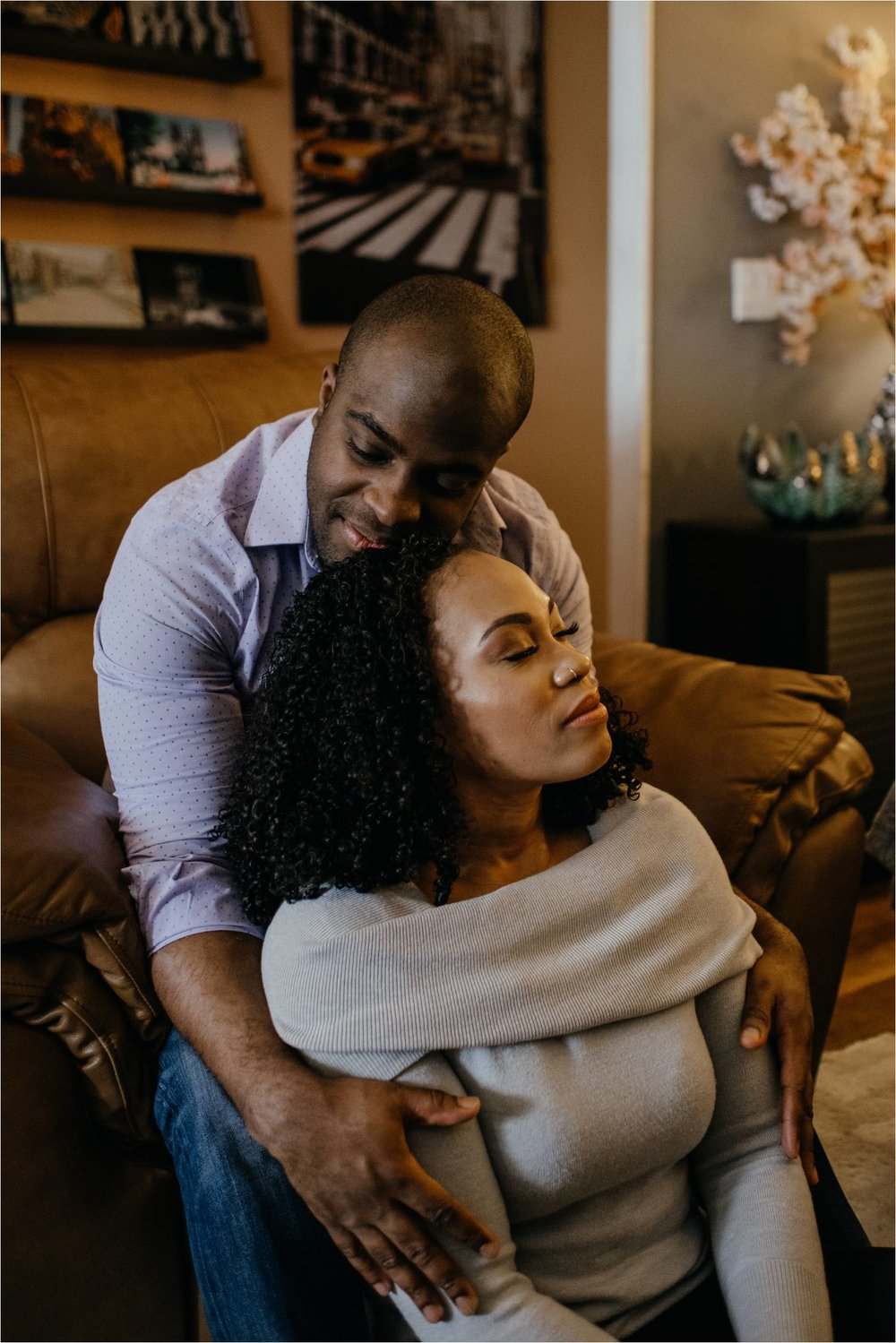 brooklyn engagement session - brooklyn engagement photographer - at home engagement photos - brooklyn engagement photos