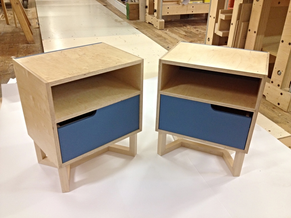 Martijn's bedside cabinets with coloured fronts and back.