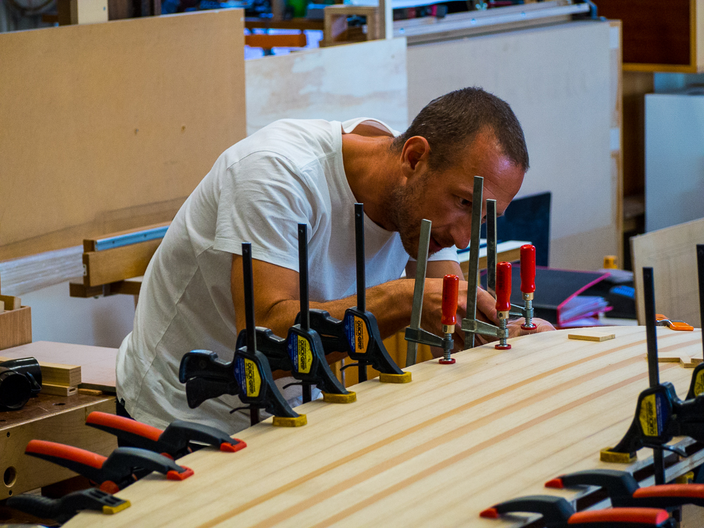 Phil's milestone, his surboard glue up.