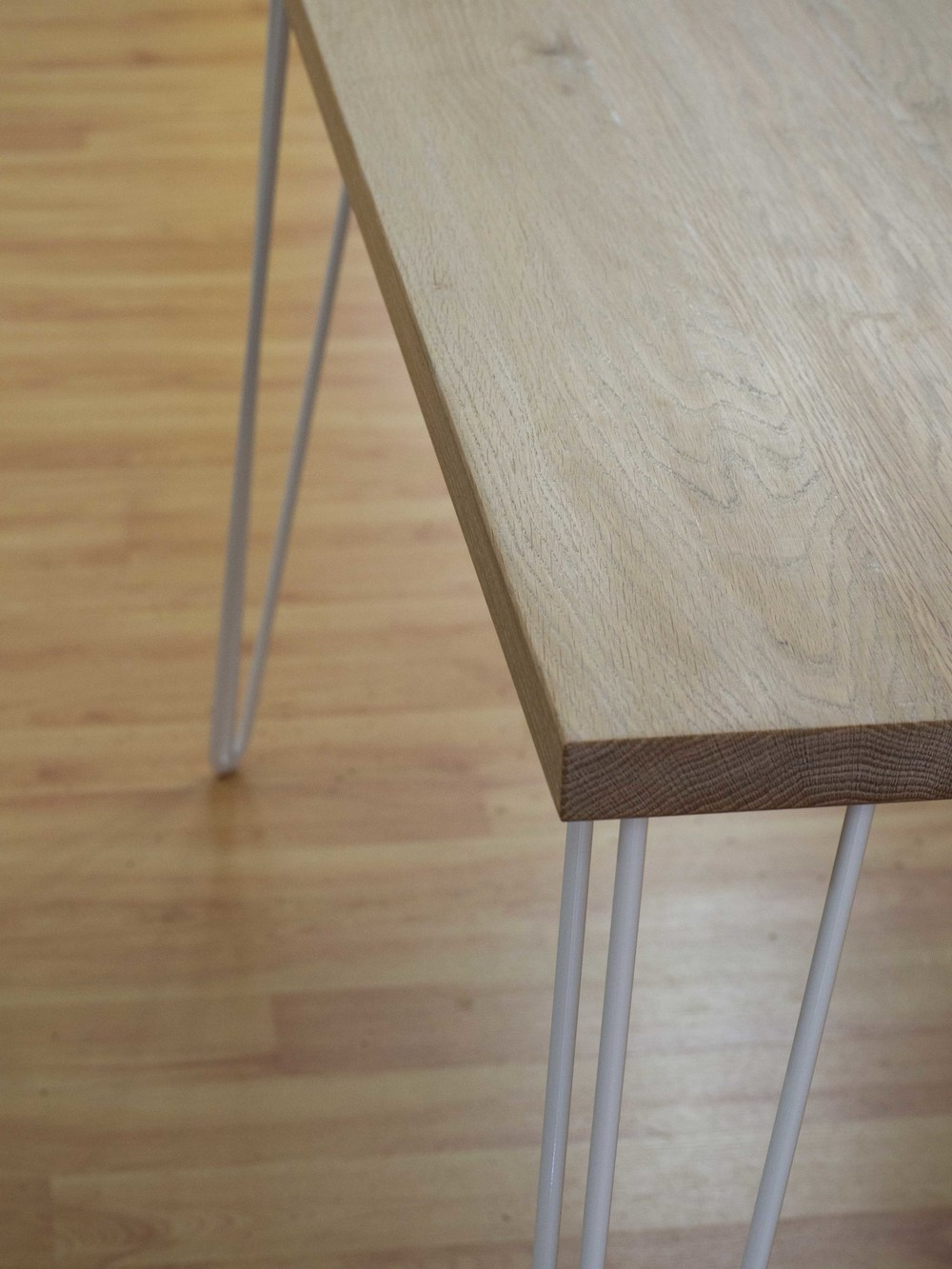 Sephanie's desk. Made with American white oak, lime finish and hair pin legs.