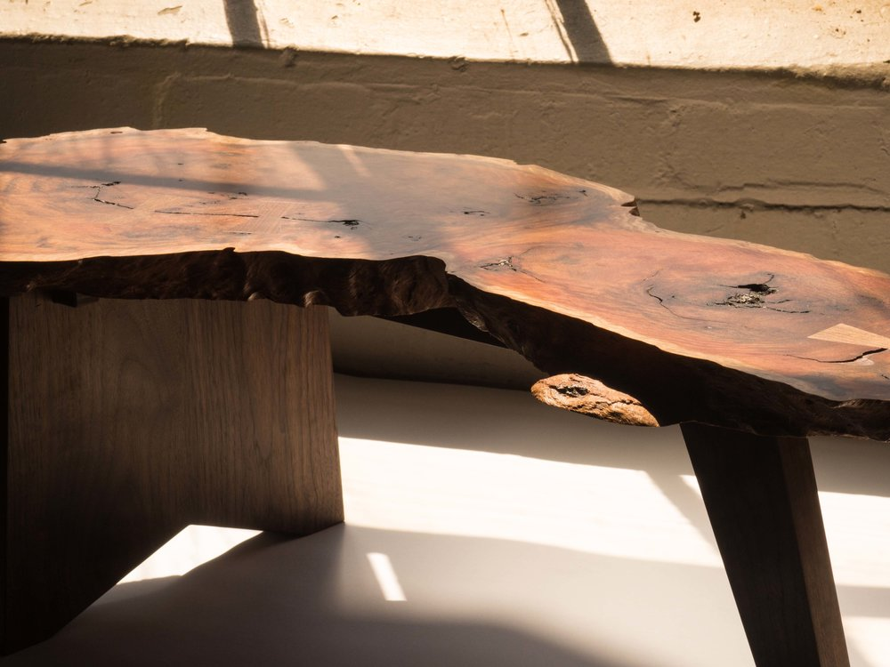 Nick's Nakashima inspired table. American Black Walnut base with Red River Gum burl top.