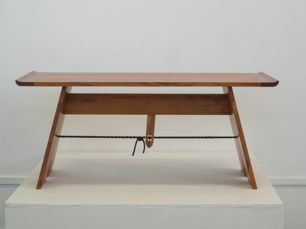 Clare's cffee table with breadboard ends in Fijiian Mahogany.