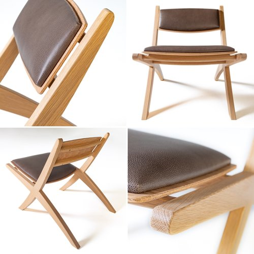 """Oxford Chairs"" by Stuart Faulkner at AWR Studio Furniture 2018 White Oak and Leather Images by  Guy Wilkinson"