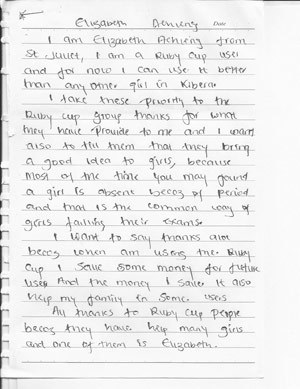 Letter about RubyCup from Elizabeth, a school girl from Kenya. Read more here.
