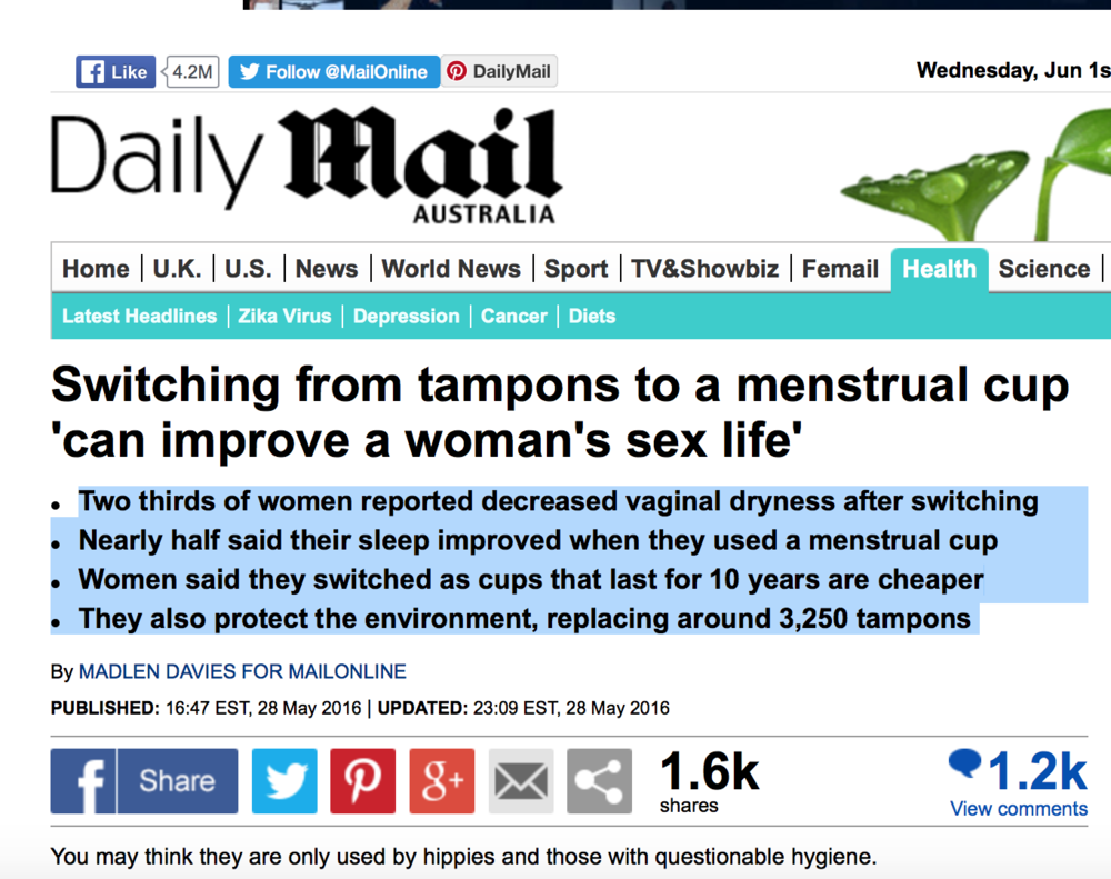 """You may think they are only used by hipped and those with questionable hygiene"". But the Daily Mail helps you think again, via a survey of 1,500 women by Intima."