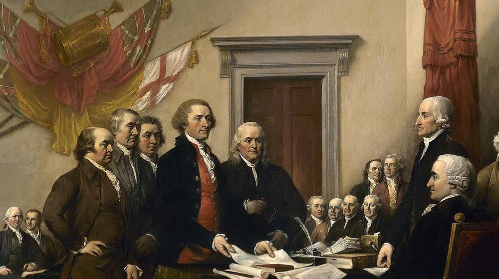 Signature de la Déclaration de l'Indépendance par les 13 colonies anglaises d'Amérique du Nord.