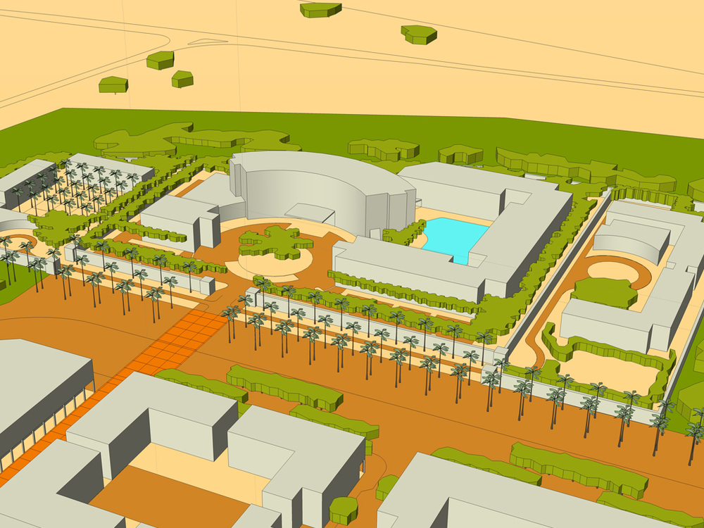 AN INDICATIVE REPRESENTATION OF THE HOTEL PRECINCT, SHOWING THE POTENTIAL FOR ACCOMMODATION.
