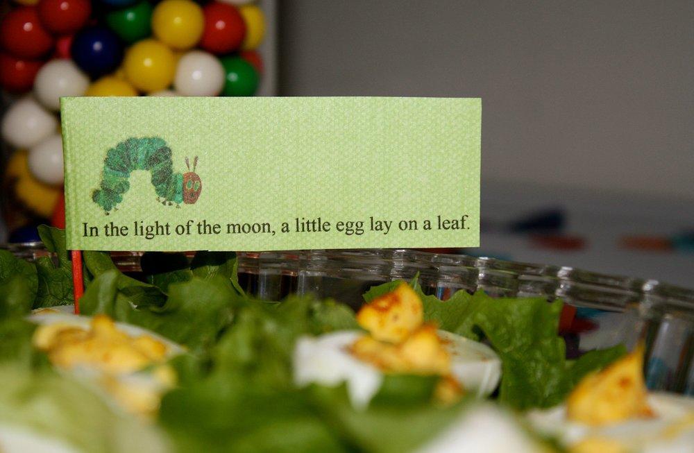 a very hungry caterpillar menu