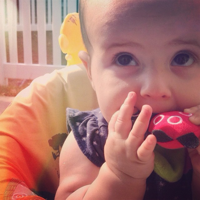 Meanwhile...the teething is just beginning for this one. #longroadahead #allthethingsinhermouth