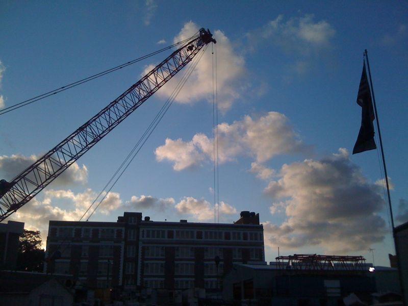 Crane, clouds, flag. LIC 2010