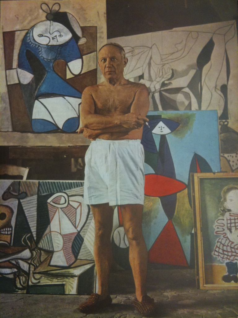 Picasso in his boxers. Paris, 1948. #collagehunting