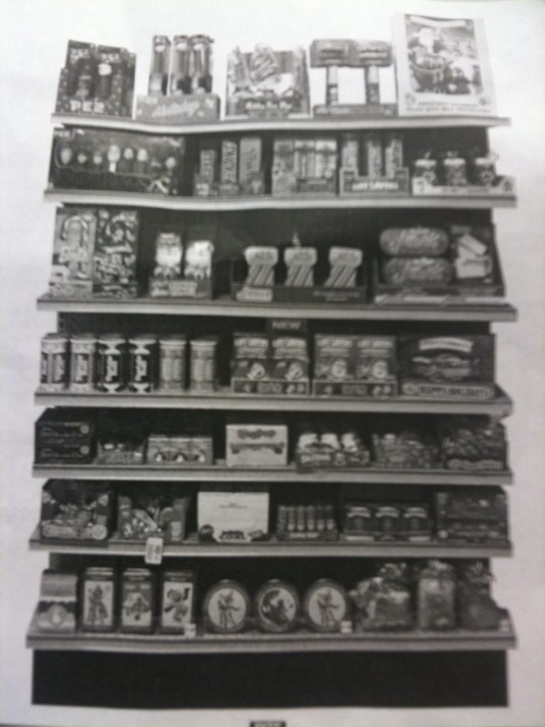 SEASONAL CANDY DISPLAY. This photocopy was posted above said display. Knickerbocker & Stockholm, Rite Aid.