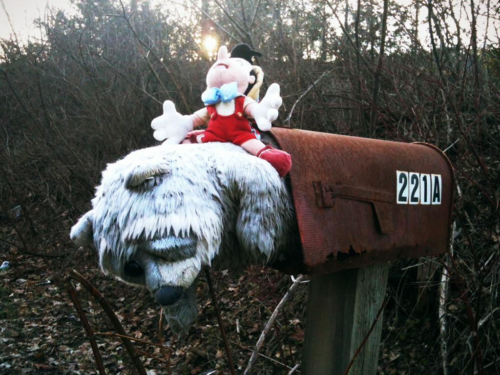 Pinocchio riding a raccoon(?) out of a mailbox. Naturally. #WassaicLife