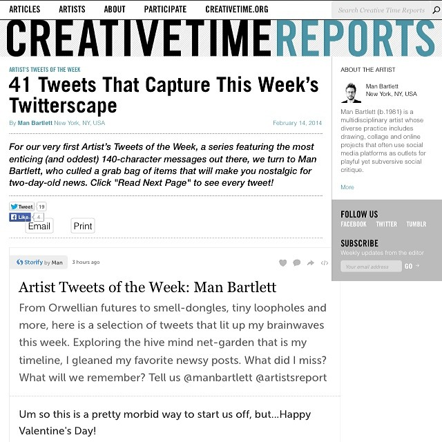 I scoured my timeline for interesting, newsy posts for @creativetimenyc's Creative Time Reports. It was fun. Head to  http://bit.ly/Man-CTR  to see it!