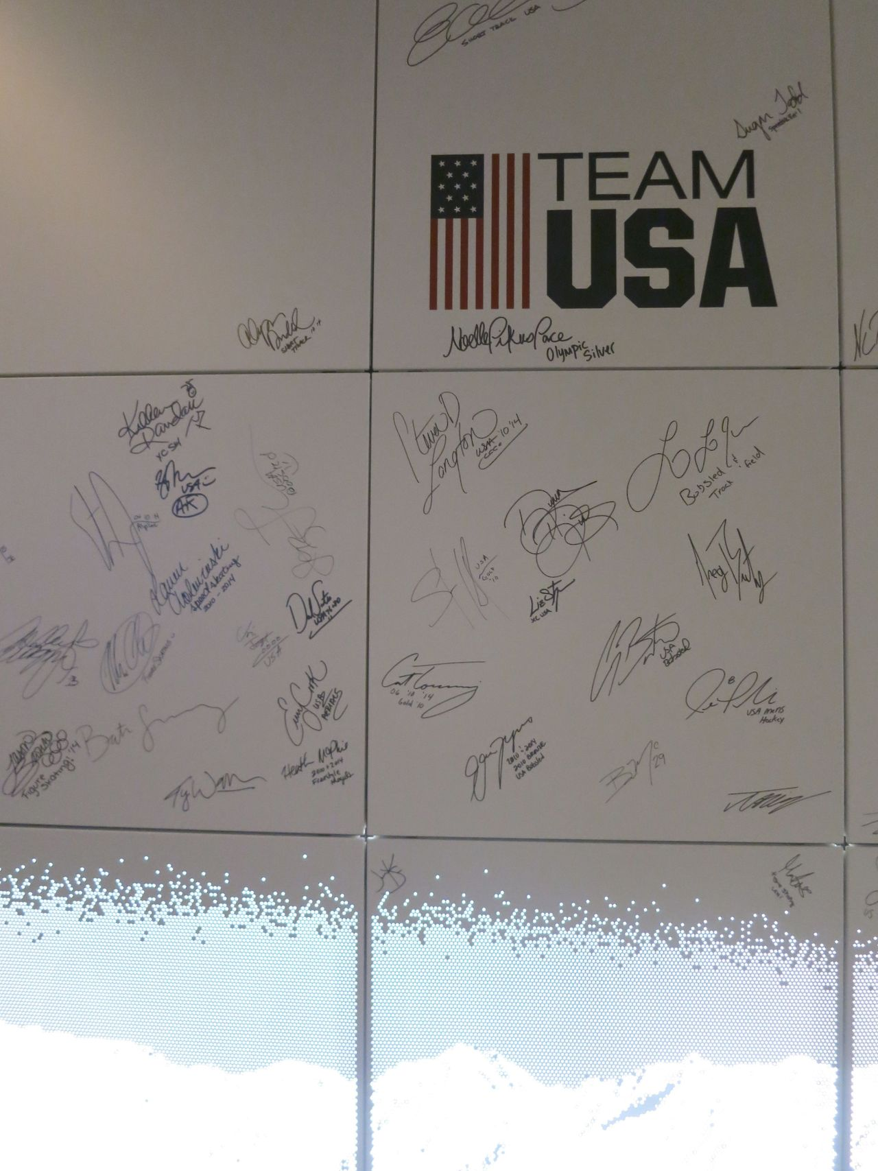 valentineuhovski: The wall of fame at the USA house. Did Russia censor the bottom of this photo? Regardless whatever happened there looks awesome.