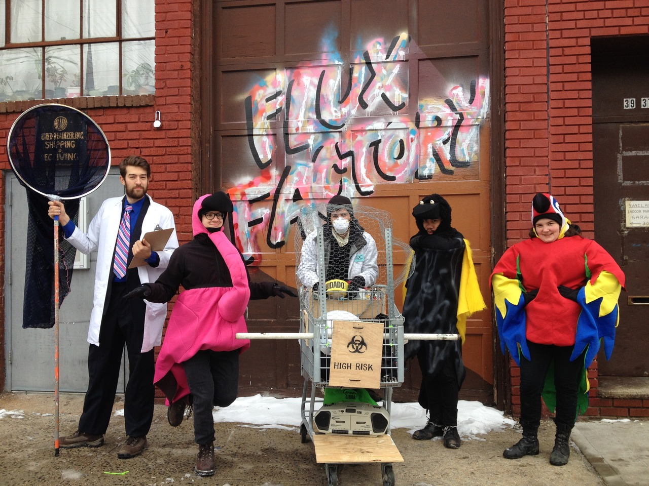 fluxfactory: Jason, Eric, Alex, Phus and Lena suited up for the Idiotarod <3