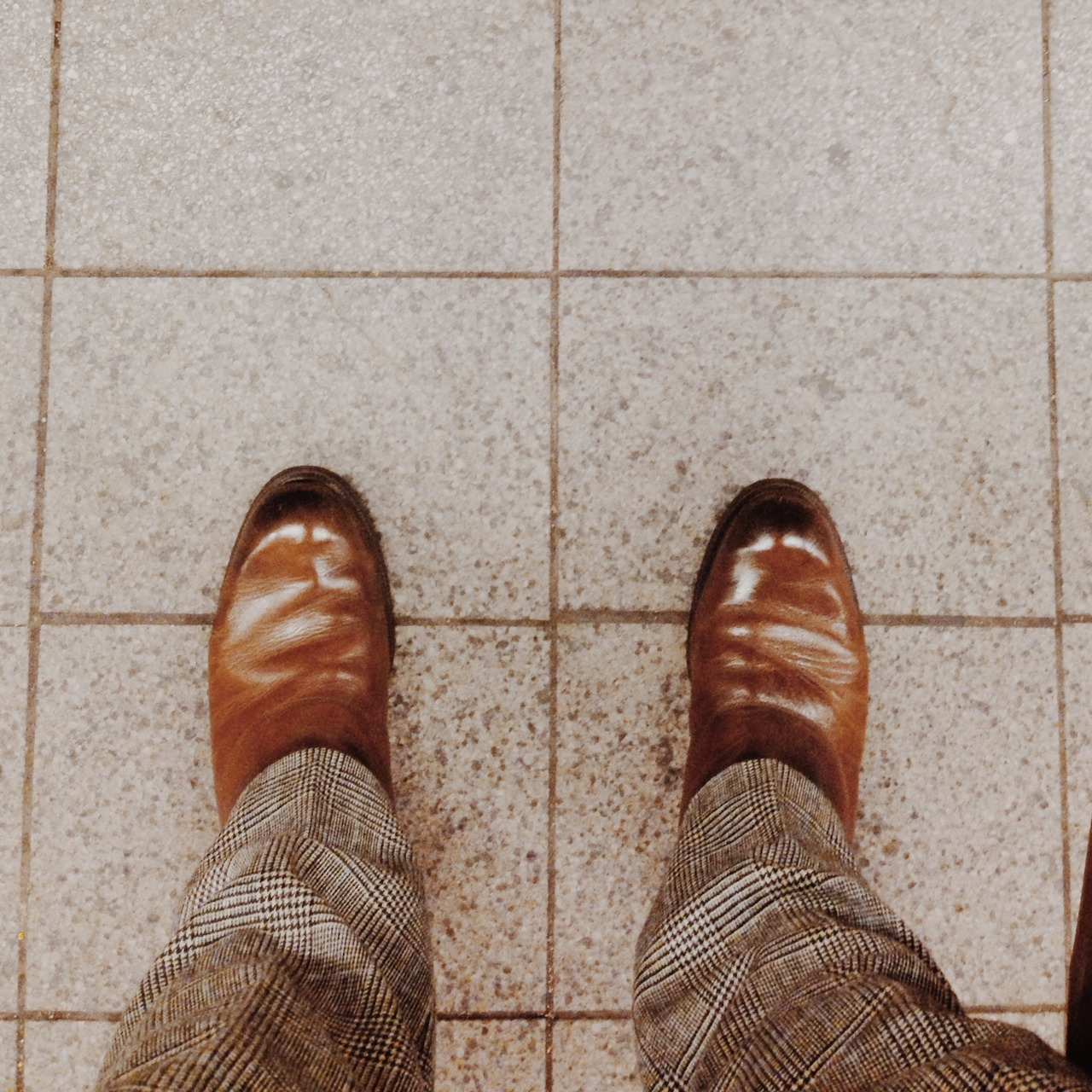 I got my shoes shined. And then took a photo as I waited for the train.