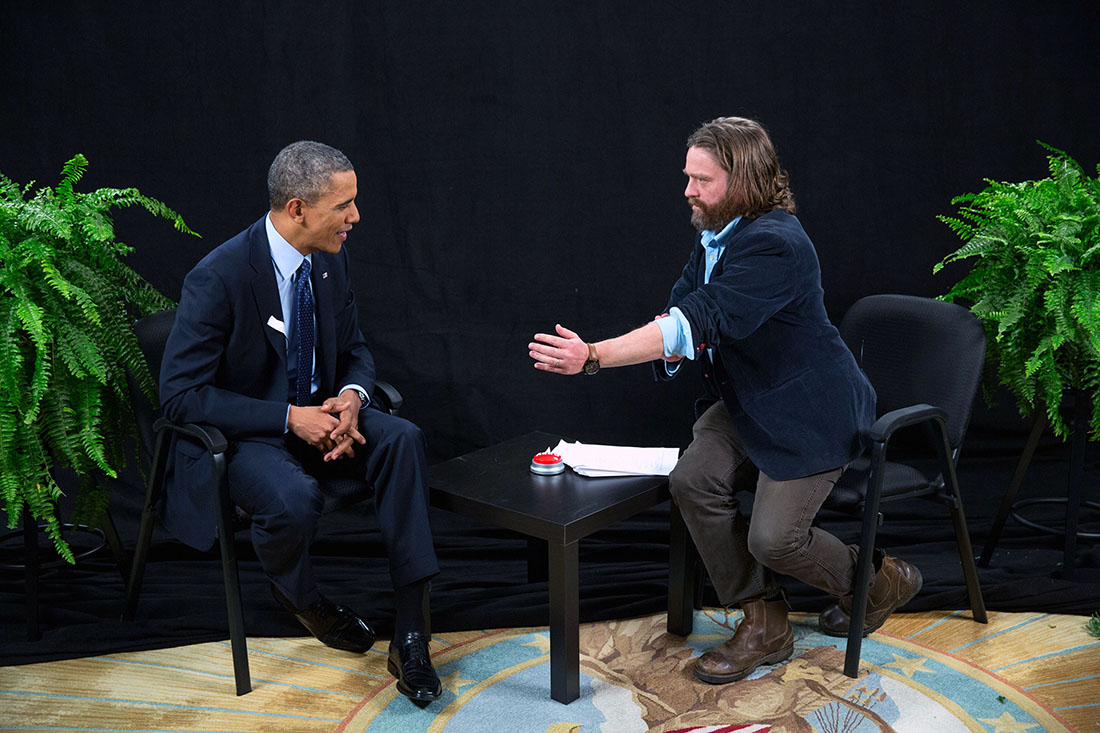 whitehouse :     President Obama. Zach Galifianakis.  Between two ferns.    Watch, then visit  HealthCare.gov .     This is actually really really funny.