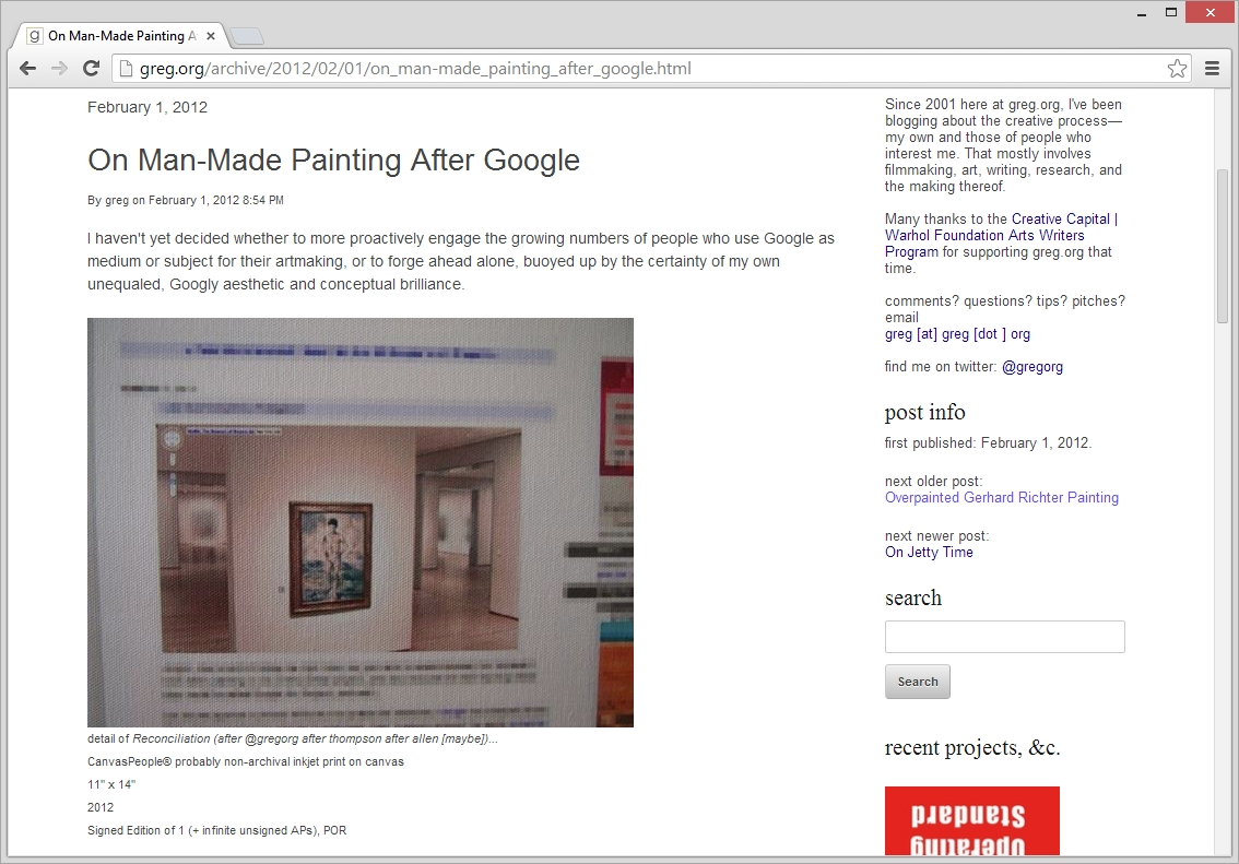 nmifsud: What you're looking at above is a screenshot I took of a detail Greg Allen posted of a photograph Man Bartlett took of a canvas he had printed of a picture he created of a screenshot Allen captured with Google Art Project depicting Cézanne's Bather in MoMA. Just because. Hahahhahahah
