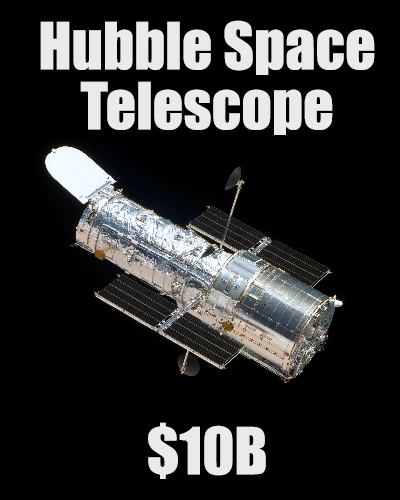 thingsthatarecheaperthanwhatsapp: Cumulative design, build, launch and maintenance costs.  http://en.wikipedia.org/wiki/Hubble_Space_Telescope