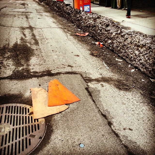 eriksanner: Flattened cone remnants #TrafficConeAesthetics If you're not following eriksanner's traffic cone blog* you should. So good. So dedicated. *Well, ~90% traffic cones blog*