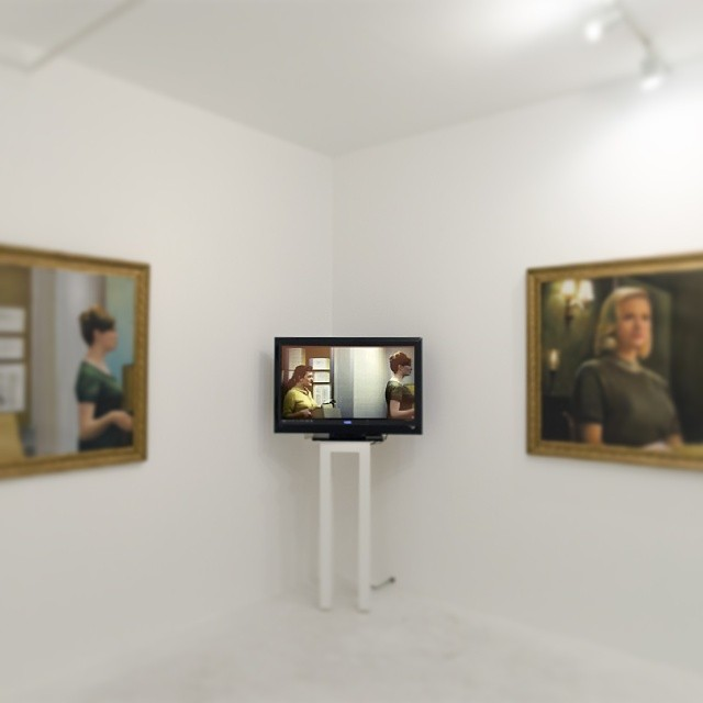 mskianga: Aren't you glad there is one more week to see Elisa Kreisinger's remix videos and oil paintings of the frames tagged by YouTube for potential copyright violation? #fairuser #fairuse #remix #video #digitalart #appropriation #madmen #painting @keprojects @popculturepirate