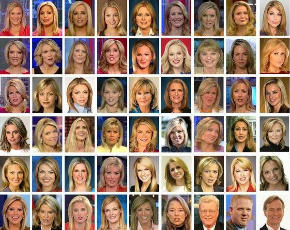 dirtyoldhoe :     Diversity on FOX News…      This is interesting, if unsurprising, and out of context.  I would love to see this for *every* news network. Further, I'd love to see a breakdown of socio-economic backgrounds for reporters, geographic origins, etc.  I hate to be an ass, but ALL MEDIA IS A LIE, it's just a question of to what degree. And yeah, Fox is probably the worst. But let's not delude ourselves. It's all a lie.