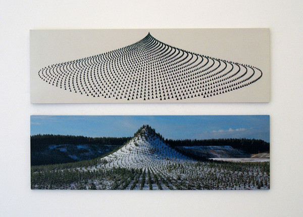 betweenwindandsnow :       Twenty years ago, 11,000 people planted 11,000 trees on an artificial mountain near Ylöjärvi, Finland. The trees were planted in a mathematical pattern based on the golden section; in time they will grow into a virgin forest each tree of which has a designated custodian. The trees can change ownership, but they can never be removed from the forest, and the mountain itself can never be owned or sold.     Artist Agnes Denes conceived the project in 1982, and the Finnish government undertook it 10 years later. The site is legally protected for the next 400 years.   Image:  x    Source:  x       Talk about slow web [of trees]!