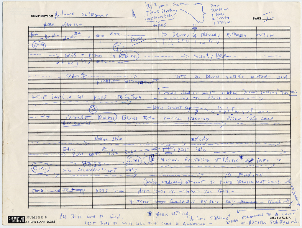 aconversationoncool :      John Coltrane's Handwritten Outline for A Love Supreme      …All paths lead to A Love Supreme.