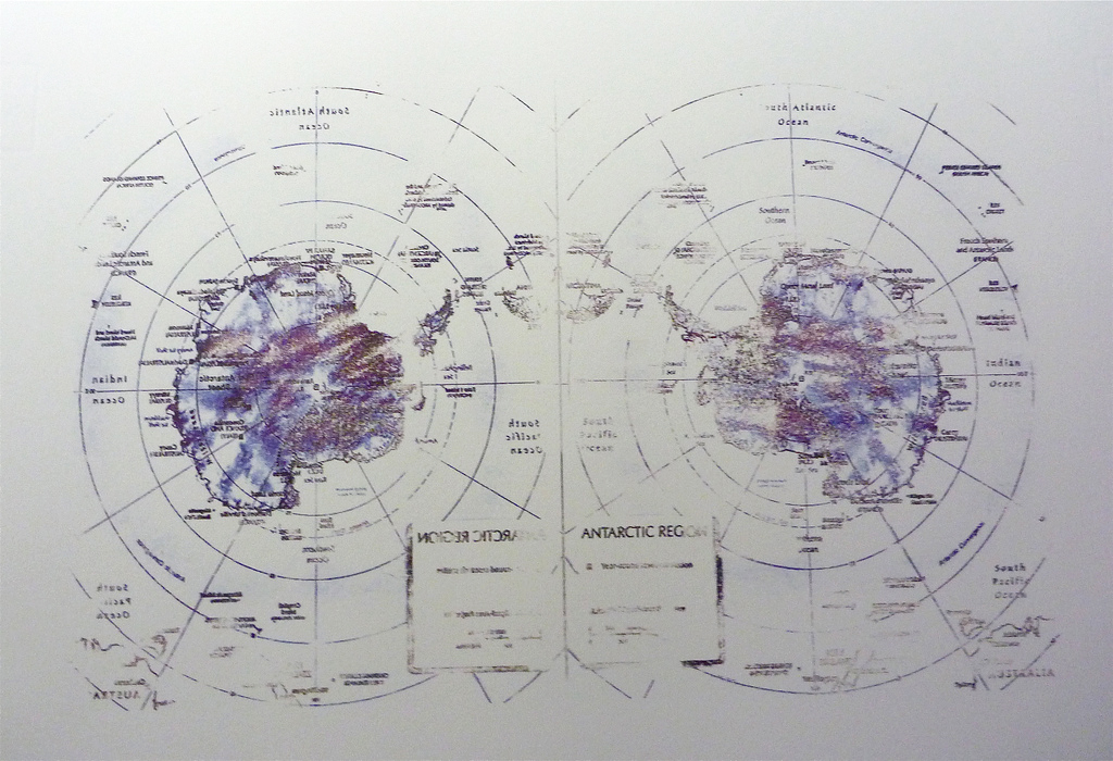 "auxiliaryprojects :     MTAA, 2013    IOI Solvent Transfer Maps (Antarctica),   21.5"" x 23 1/4""     Xylene transfer drawing on paper (size) with metal hanging clip      Go"