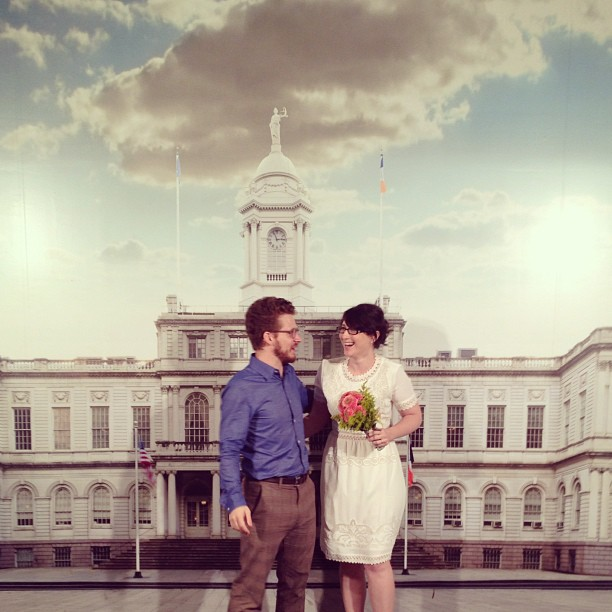 The background may be fake but the wedding was definitely real. #marriedman