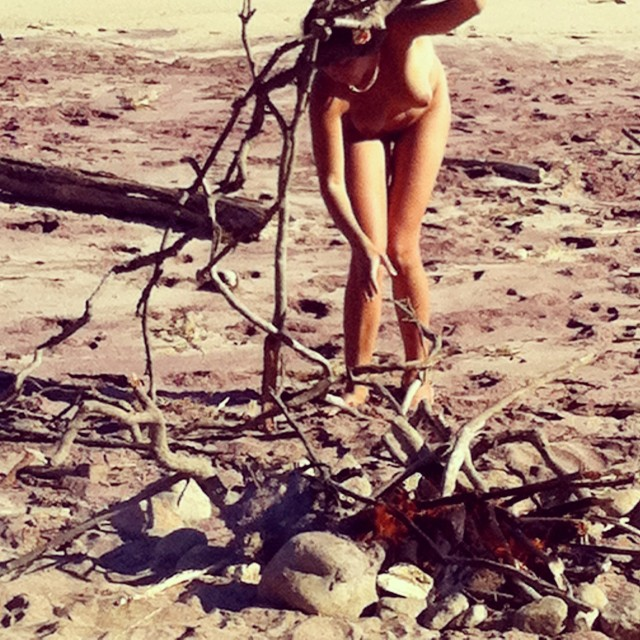 stn-to-stn :      Wherever the Fuck I Am   Lola Montes Schnabel     Self portrait on my 30th birthday, gathering sticks for a sacred fire on the beach in Montauk, New York.      Lola Montes Schnabel is an artist who lives and works in New York City.       File Under: Things I wish I'd done for  my  30th birthday…