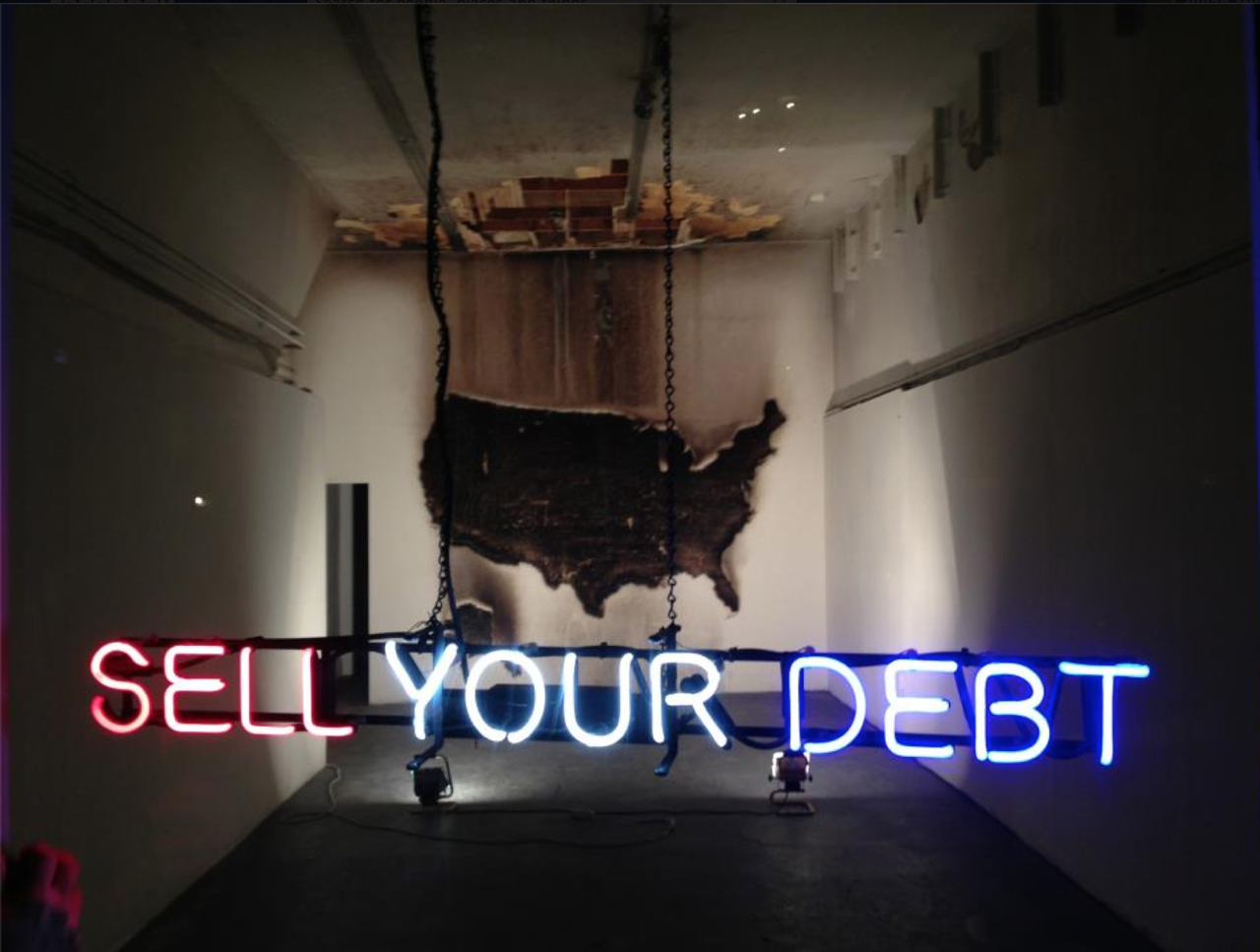 grupaok: Claire Fontaine, Sell Your Debt, Queens Nails Projects, San Francisco, 2013 [via Joshua Kit Clayton] SELL YOUR DEBT. MAKE NEON.