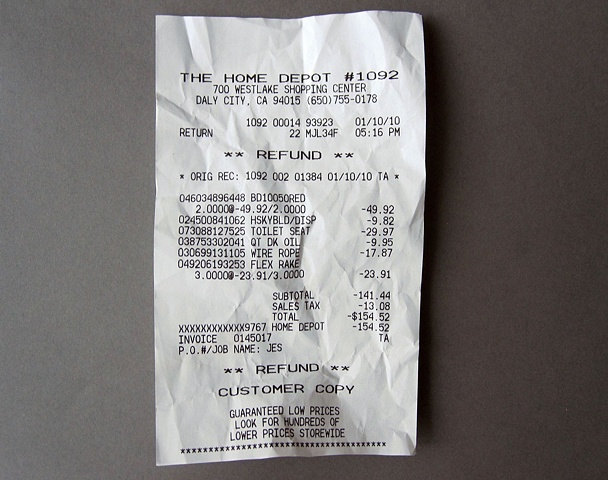 "sympathyfortheartgallery: Transaction by Jesse Eric Schmidt 2009 Public Action, Object 2 hours, 5""x3""x1"" I buy items for a potential arrangement & immediately get a refund for them. Hm the receipt says 1/10/10 so it would appear this work is actually from 2010? I mean, not to split hairs. More curious then anything else. Anyone know the deal?"