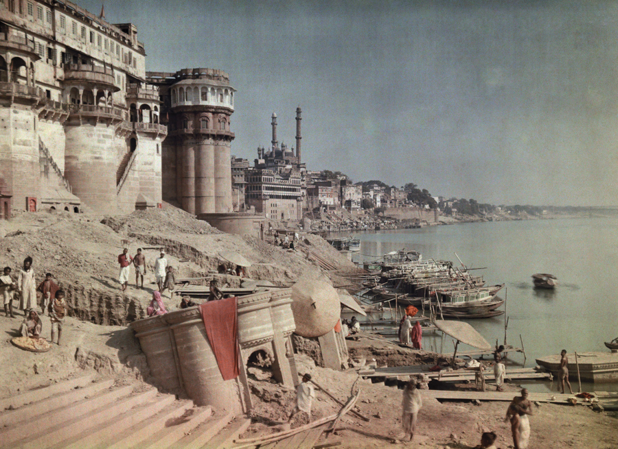 natgeofound: A view of a bathing ghat on the shores of the Ganges River in India, 1923. Photograph by Jules Gervais Courtellemont, National Geographic