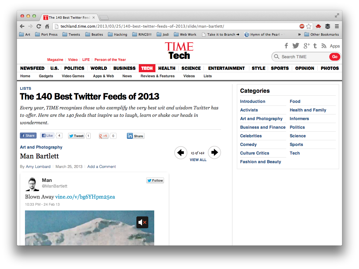 Humbled to be included in TIME's 140 best Twitter feeds of 2013. Thanks everyone for the love! And  I am in some truly     great company  …