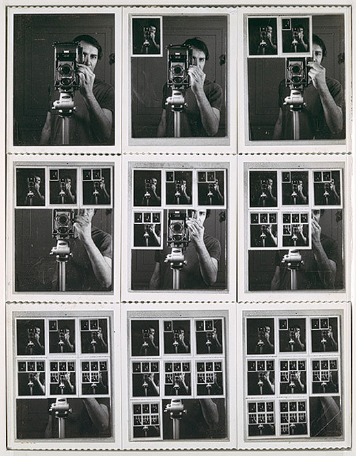 museumuesum :       William Anastasi      Nine Polaroid Portraits of a Mirror  ,  1967   Black-and-white instant prints and mirror, 14 1/2 x 11 1/4 in. (36.8 x 28.6 cm)     would love to see this re-performed with a livestream and screen grabs. and/or if you have examples of someone doing a project/performance like this feel free to comment/reblog with links! :)