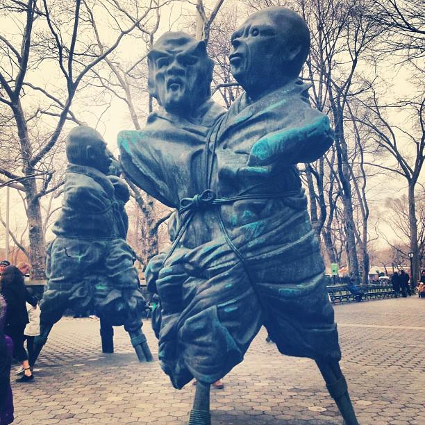 "rebeccataylorny: Thomas Schutte's ""United Enemies"" c/o @publicartfund (at Central Park)"