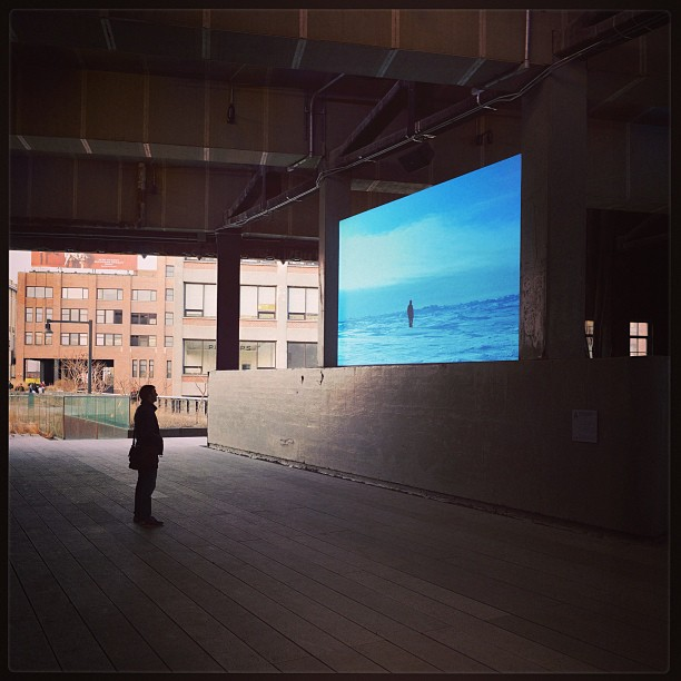 "highlineart :     Don't miss Guido van der Werve's video ""Nummer negen, the day I didn't turn with the world"" on #HighLineChannel14 daily beginning at 5 pm (photo @paperscenery) (at High Line)     Guido van der Werve FTW!"