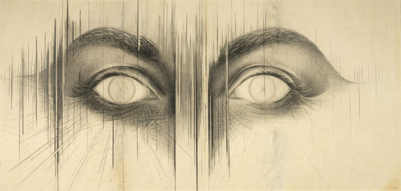 whitneymuseum: We can't wait to see Jay DeFeo: A Retrospective! Opening Thursday, the exhibition features over four decades of the artist's groundbreaking work. Jay DeFeo (1929–1989), The Eyes, 1958. Graphite on paper, 42 × 84 3/4 in. (106.7 × 215.3 cm). Whitney Museum of American Art, New York; gift of the Lannan Foundation 96.242.3. © 2013 The Jay DeFeo Trust / Artists Rights Society (ARS), New York. Photograph by Bill Orcutt